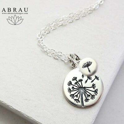 Happy Birthday Gift Card Dandelion Make A Wish Necklace Sterling Silver or Gold