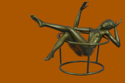 Vintage Nude Lady Pinup Girl Naked Woman Pure 100% Statue Bronze Sculpture Sale