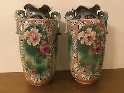 Gorgeous Pair Of Antique ESO NIPPON VASES