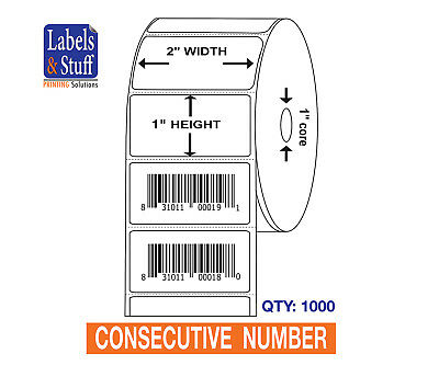 1000 Labels 2x1 Pre-Printed UPC Bar Code Barcode CONSECUTIVE NUMBER Stickers