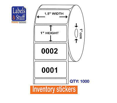 1000 Labels Consecutive Number / one Roll 1.5 x 1  Inventory stickers on Paper