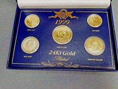 1999 24k GOLD Plated United States Proof Mint Set US Coins Money