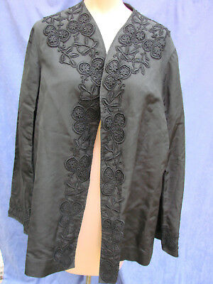 Vintage Victorian Frock Coat Jacket BLACK Lace Appliques M Antique BELL SLEEVES