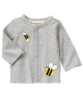 NWT Gymboree 6 12 Months Bee Gray Cotton Cardigan Baby Boy Girl Clothes Unisex