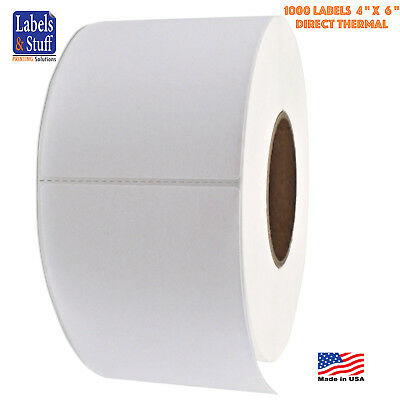 "1 Roll 4"" x 6"" Direct Thermal Zebra FASSON Labels 3"" inch Core 1000 Labels 4x6"