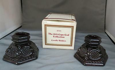 VTG Avon The 1876 Cape Cod Collection Ruby Red Glass Candle Holders 1983