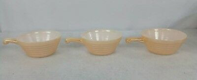 Vintage Fire King Anchor Hocking Luster Ware - Bee Bowl With Handle - Set Of 3