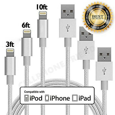 MFi Lightning Cable 3/6/10FT USB Fast Charger for Apple iPhone 7 6s Plus Sliver