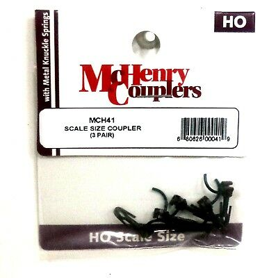 HO Scale McHenry 41 Knuckle Spring Scale Size Coupler 3 pr