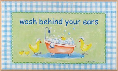 Stupell Industries The Kids Room Wash Behind Your Ears Ducks in the Bathtub Oval