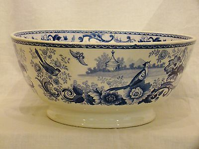 Staffordshire Pearlware Blue & White Birds & Butterflies Open Bowl c1815-30's
