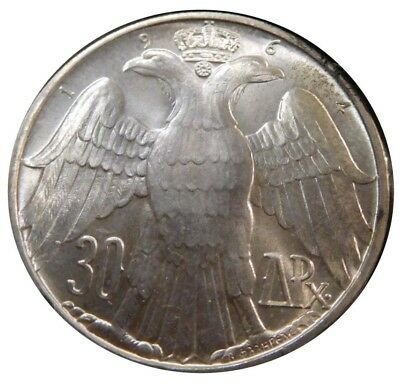 Unc Gem 1964 30 Drachmai .835 Silver Coin Constantine II Royal Marriage