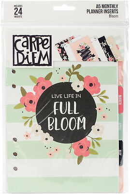 Carpe Diem Bloom Double-Sided A5 Planner Inserts-Monthly, Undated, Part BLM7961,