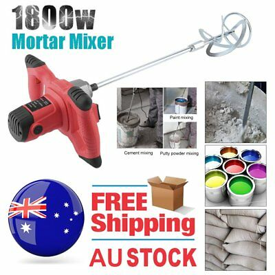 1800W NEW Drywall Mortar Mixer Plaster Cement Tile Adhesive Render Paint H