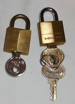 vintage lot of 2 Small  padlocks with 3 keys gold color master belwith,locks