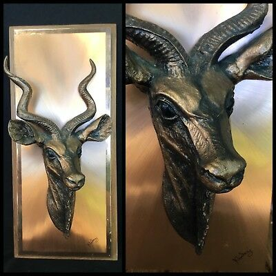 VINTAGE Copper 3D WALL HANGING PLAQUE South African KUDU