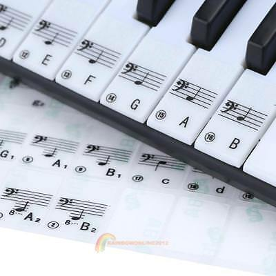 61 Keys Transparent Keyboard Key Note Stickers for Piano Electronic Keyboard