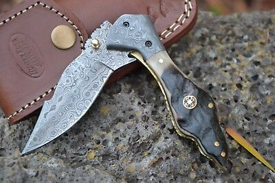 "HUNTEX Handmade Damascus 4.1"" Long Ram Horn Hunting Folding Pocket Knife"