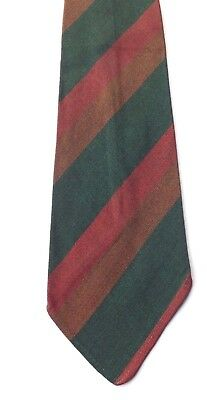 Vintage 1950s TOOTAL Green Quality Neck Tie Green Russet Striped Rayon FREE P&P