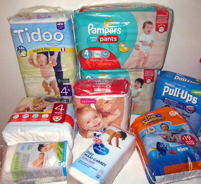 Lot de 209 couches taille 4 ,4+ et 5 Pampers,Huggies,Lotus tidoo...