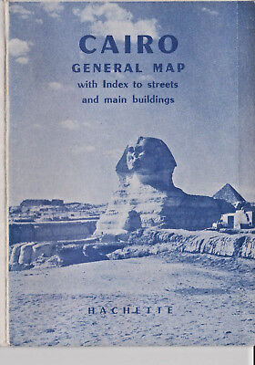 Old Vintage CAIRO GENERAL MAP with index to streets and main buildings HACHETTE