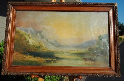 Antique 19th Century Oil on Canvas of Cows Crossing A Stream - Cooper Henderson?