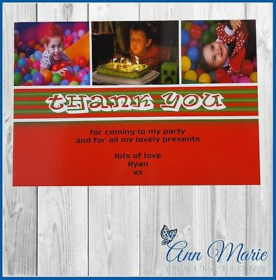 10 x PERSONALISED BIRTHDAY THANK YOU FOR MY GIFTS BIRTHDAY PARTY THANKS CARDS