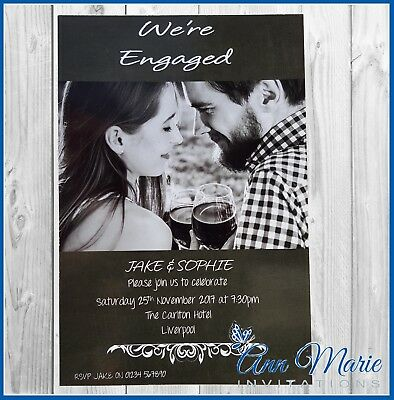 10 x PERSONALISED PHOTO ENGAGEMENT PARTY INVITATIONS ENGAGED PARTY INVITES