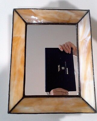 Vintage Beautiful Handcrafted leaded Stained Glass Amber/Yellow  Decor Mirror