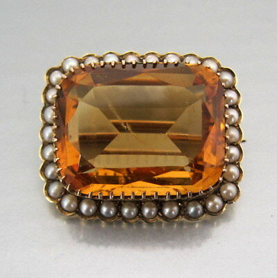HIGH QUALITY VICTORIAN 15ct GOLD CITRINE & SEED PEARL BROOCH