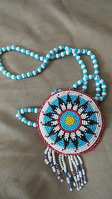 Vintage Hand Beaded Arikara Souix American Indian Original  Medallion Necklace