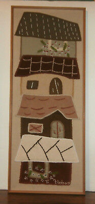 "Houses Embroidery Applique Finished Framed Picture 13.5"" x 34"""