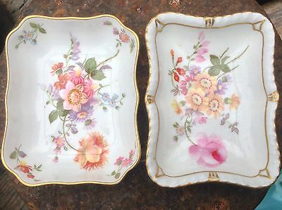 Antique / Vintage Royal Crown Derby Painted Flower Spray Gilt Pin Trinket Dishes