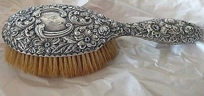 pre 1890 GORHAM Sterling SILVER HAIR BRUSH Antique 620 repousse Floral Monogram