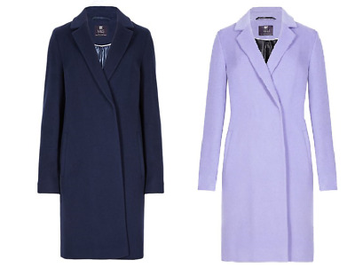 M/&S Collection Double Breasted Italian Fabric with Cashmere Coat