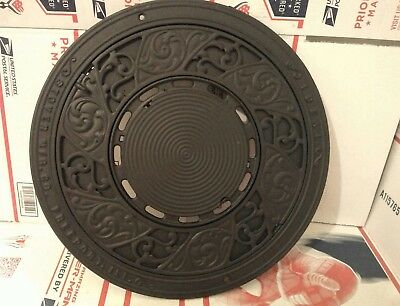 """Antique Stover MFG. Co. Freeport  Ideal Cast Iron Wall Plate Stove Cover 15 3/4"""""""