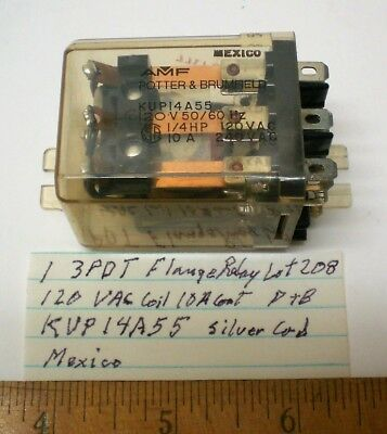 1 New Flange Relay 3PDT, 120VAC Coil, 10A Cont. Potter&Brumf. #KUP14A55, Lot 208