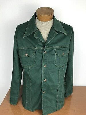 Vtg Mens Sears Jeans Joint Green Shirt Jacket Copper Snaps Wing Collar M(38-40)