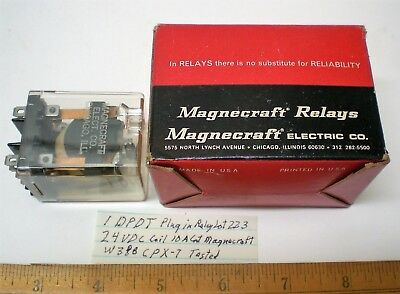1 New Plug-in Relay DPDT, 24VDC Coil, 10A Cont. MAGNECRAFT#W388CPX-7 Lot 223 USA