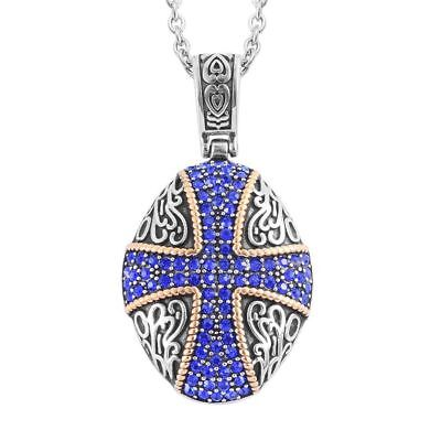Medieval Cross Blue Austrian Crystal Stainless Steel Hypoallergenic Necklace 20""