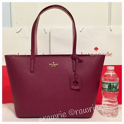 NWT Kate Spade Scott's Place Lida Merlot Wine Saffiano Leather Zip Tote $299