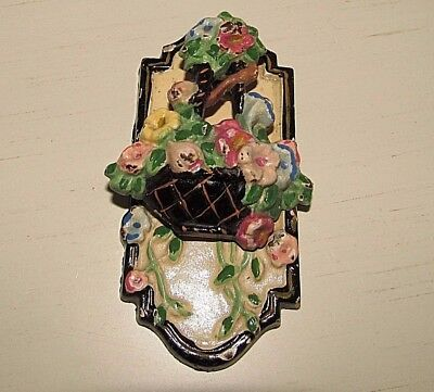 Antique 1920's Hubley #205 Cast Iron Basket of Flowers Door Knocker 4""