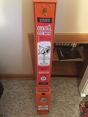 Novelty Vintage Condom $.25  Vending Machine Dispenser Steel with Key Orange