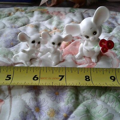 Vintage Bone China White Mouse Trio Hand Painted Figure Made in Japan Label
