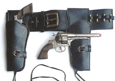 Authentic Western Style Cowboy Double Holster with Silver Metal Pistols Cap Guns