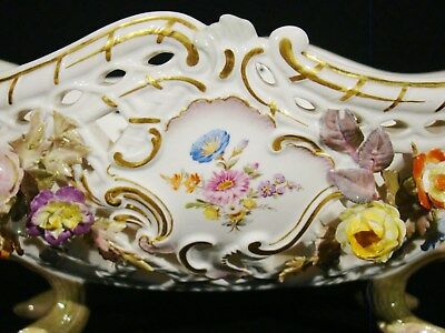 Antique Meissen Hand Painted Reticulated Floral Basket 19th c