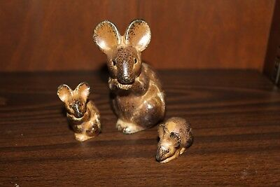 Vintage Brown Mouse Trio Hand Painted Figure Made in Japan Label