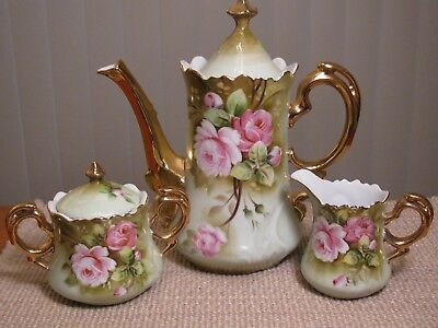 Vintage Lefton China Tea Set Green Pink Roses - Perfect Condition - Never Used
