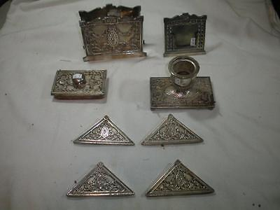 Antique Bradley & Hubbard 8 Piece Silver Plate Desk Set / Look!