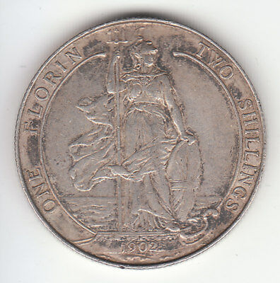 1902 Great Britain Edward VII Sterling Silver Florin. High Grade.